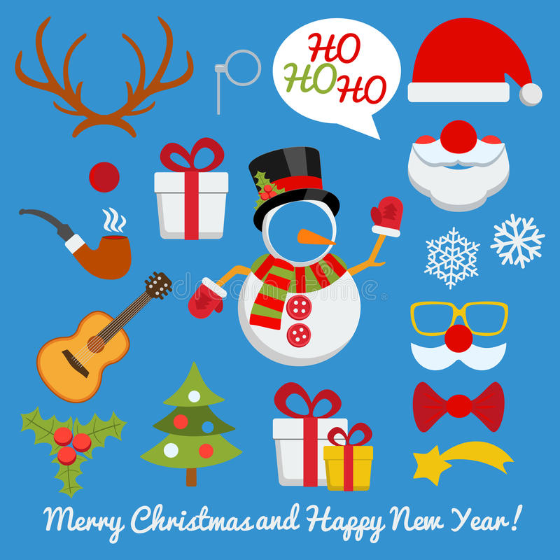 Xmas photo booth and scrapbooking vector set stock illustration