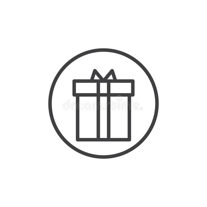 Xmas Present Line Icon Outline Vector Sign Linear Style Pictogram Isolated On White Gift Box Symbol Logo Illustration Editable Stroke