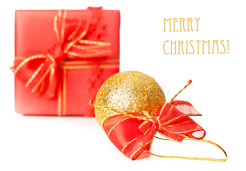 Download Xmas Present And Sparkling Ball  On White Stock Photo - Image: 27613288
