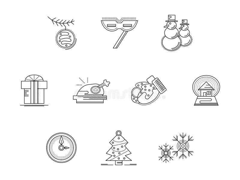Xmas przyjęcia akcesoriów mieszkania linii ikony ustawiać ilustracja wektor
