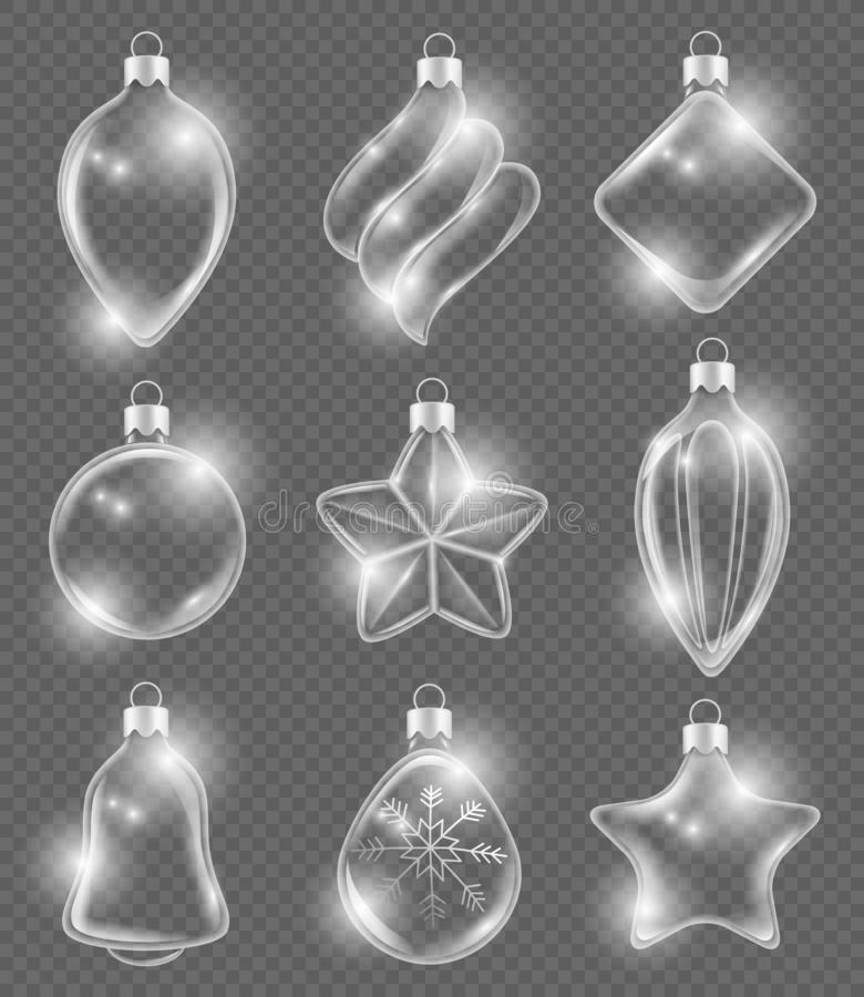 Xmas realistic balls. New year glass toys holiday transparent decoration ribbons ornament vector 3d pictures background royalty free illustration