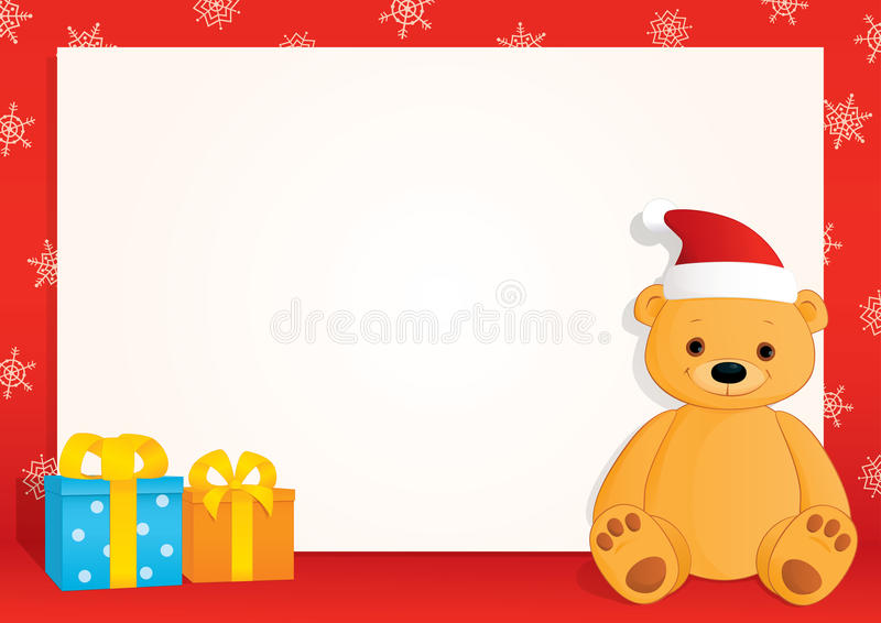 Xmas red horizontal frame brown teddy gifts. Vector Christmas blank banner with a red frame, snowflakes, gifts and a brown teddy bear wearing Santa hat. Place royalty free illustration