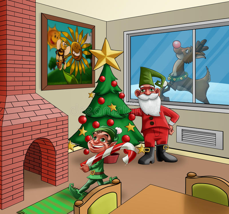 Download Xmas room stock illustration. Image of background, fireplace - 20755221