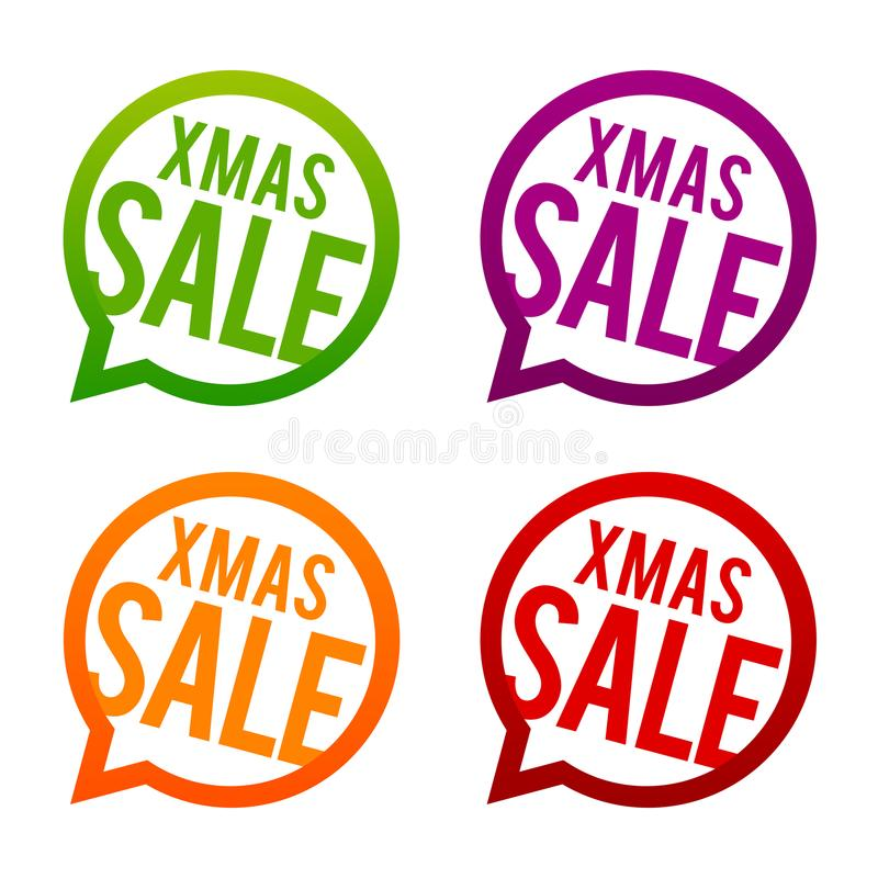 Xmas Sale round Buttons. Circle Eps10 Vector. stock illustration