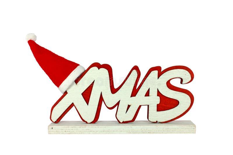 Xmas with Santa hat. Text Xmas with Santa hat isolated on white stock photo