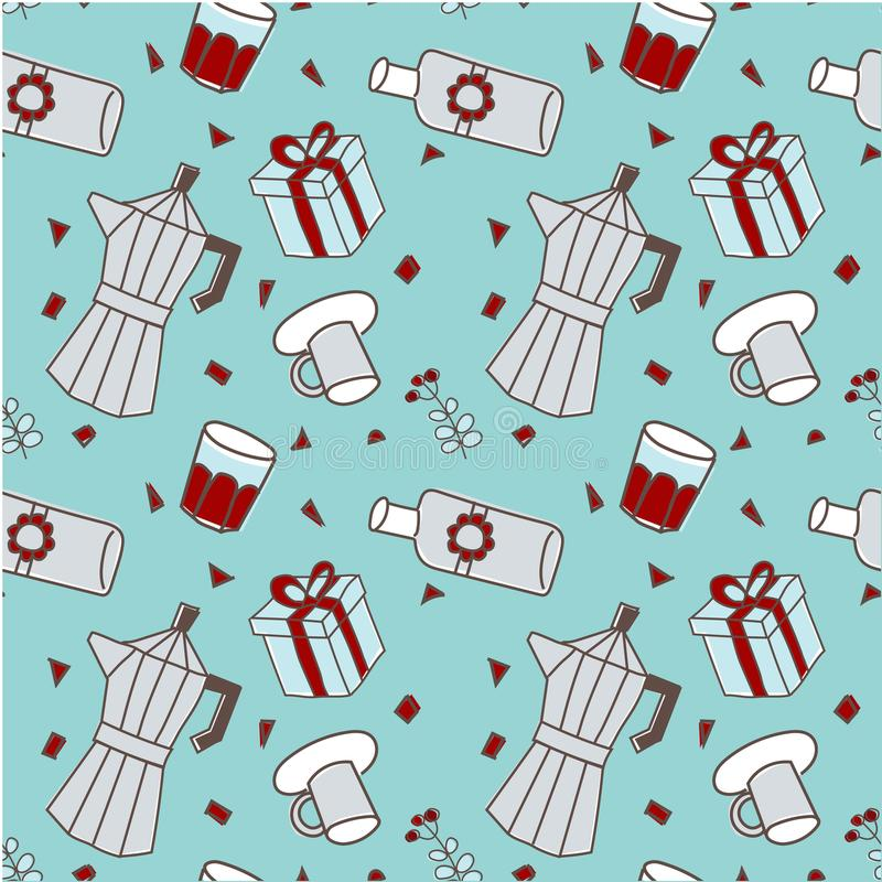 Xmas seamless pattern-party-blue background stock illustration