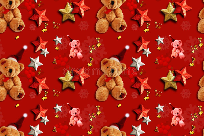 Xmas Seamless Pattern Teddy Bears. Teddy bears and stars as Christmas decorative elements on a red background. Seamless Pattern royalty free stock photos