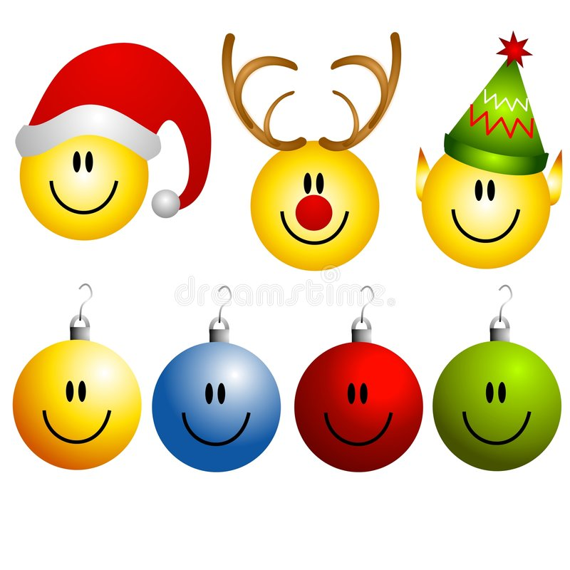 Xmas Smileys Ornament Icons. A clip art illustration of a collection of Christmas smileys and icons featuring Santa, reindeer, elf, and 4 Christmas ornament