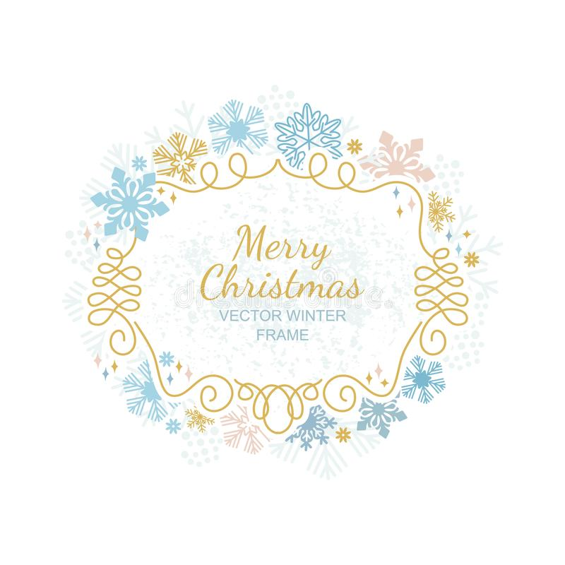 Xmas snowflake frame, Christmas framework royalty free illustration