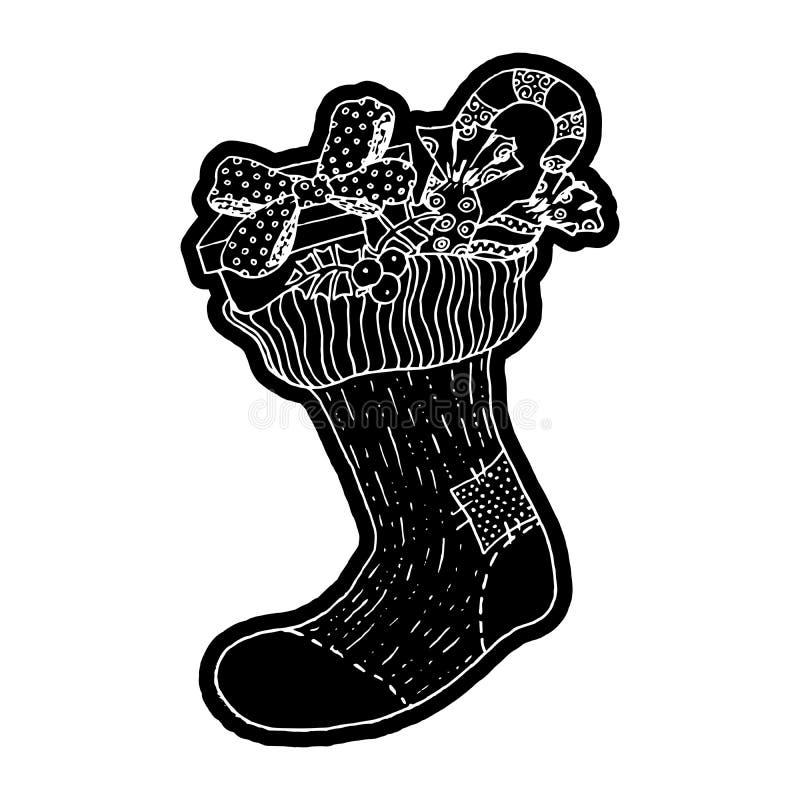 Xmas-socka med gåvor Knockout- utskrivande klistermärke, isolerad clipart vektor illustrationer