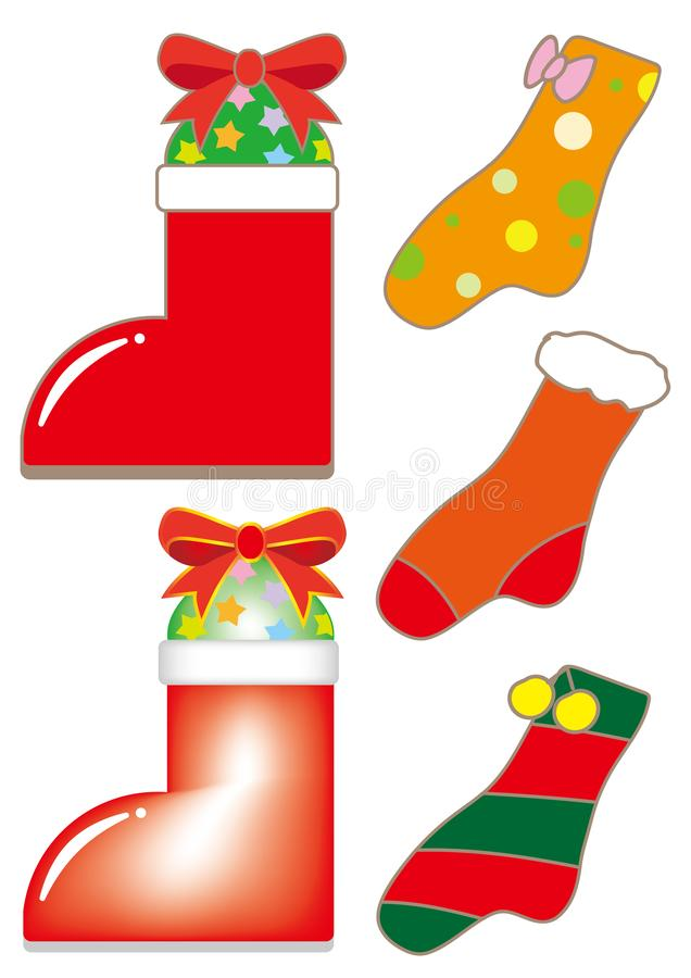 Xmas-sockor och jultomtenkängauppsättning vektor illustrationer