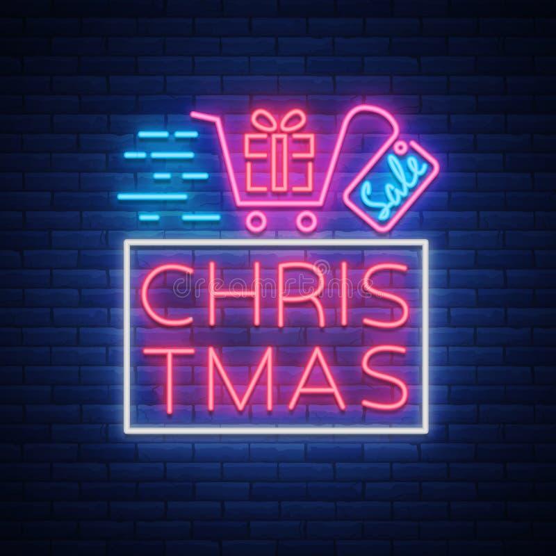 Xmas sprzedaż, boże narodzenia pomija plakat, ulotki karta w neonowym stylu Nowego roku projekta dyskontowy neonowy tekst Świątec ilustracji