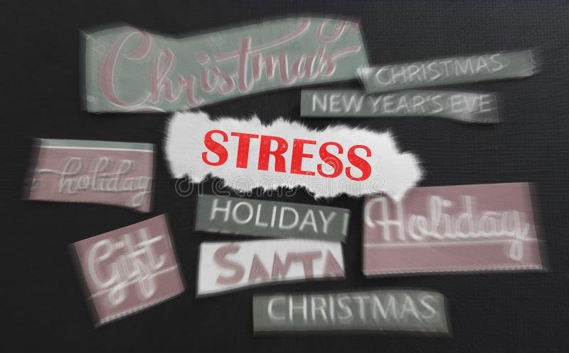 Xmas stress. Christmas themed images with Stress text in red royalty free stock photography
