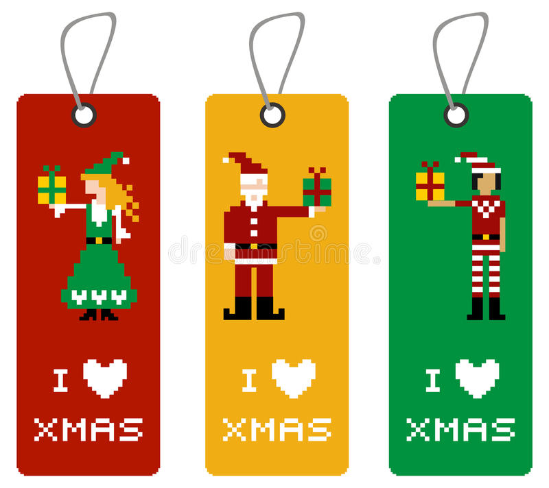Download Xmas Tag With Pixel Characters Stock Vector - Illustration of color, cartoon: 16977480