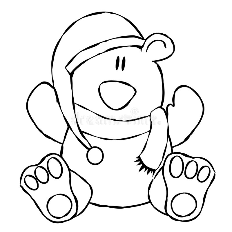 Xmas Teddy Bear Line Art. An illustration of a teddy bear wearing a Santa hat and scarf. Line art (black and white illustrations) are perfect for projects where royalty free illustration