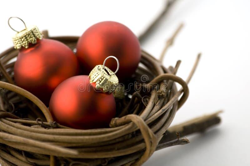Xmas theme. Xmas balls, nest, isolated on a white background stock photo