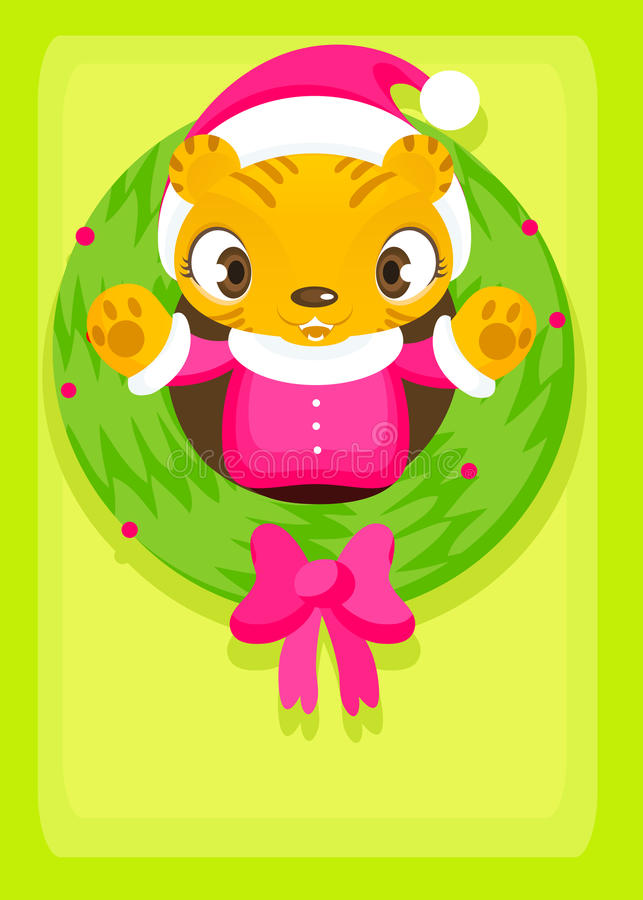 Download Xmas tiger stock illustration. Image of pink, animal - 11862768
