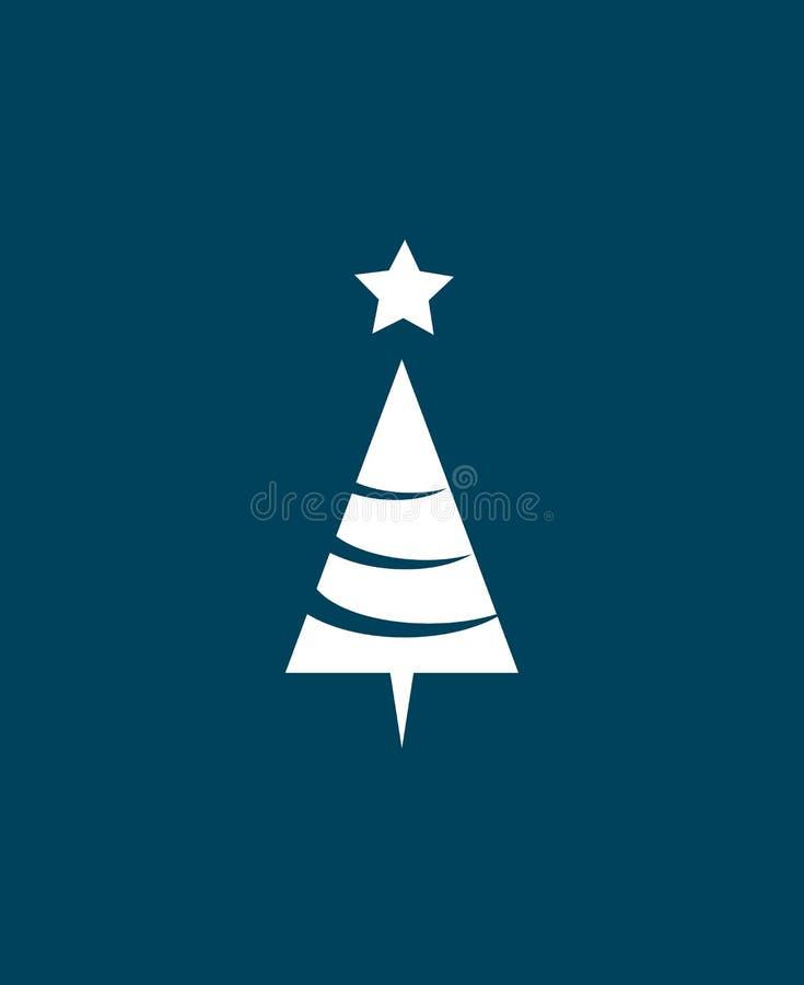 Xmas-träd över blå bakgrund Plan symbol Ren design gears symbolen stock illustrationer