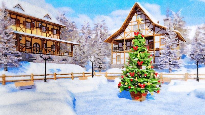 Xmas-träd på stadfyrkant på vattenfärgen för vinterdag royaltyfri illustrationer