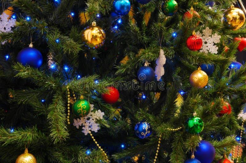 Xmas tree. Decoration with garland royalty free stock photos