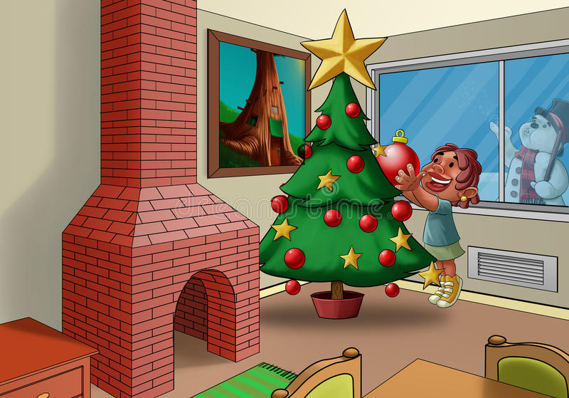 Download The xmas tree stock illustration. Illustration of house - 20755039