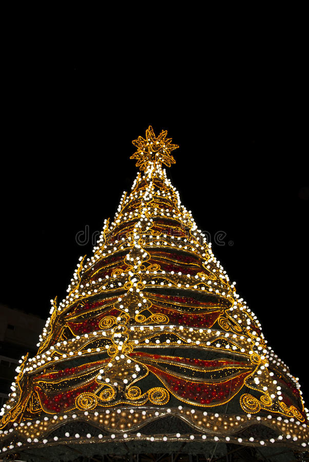 Xmas tree. Detail from Limassol,Cyprus main xmas tree of the city at night stock photo