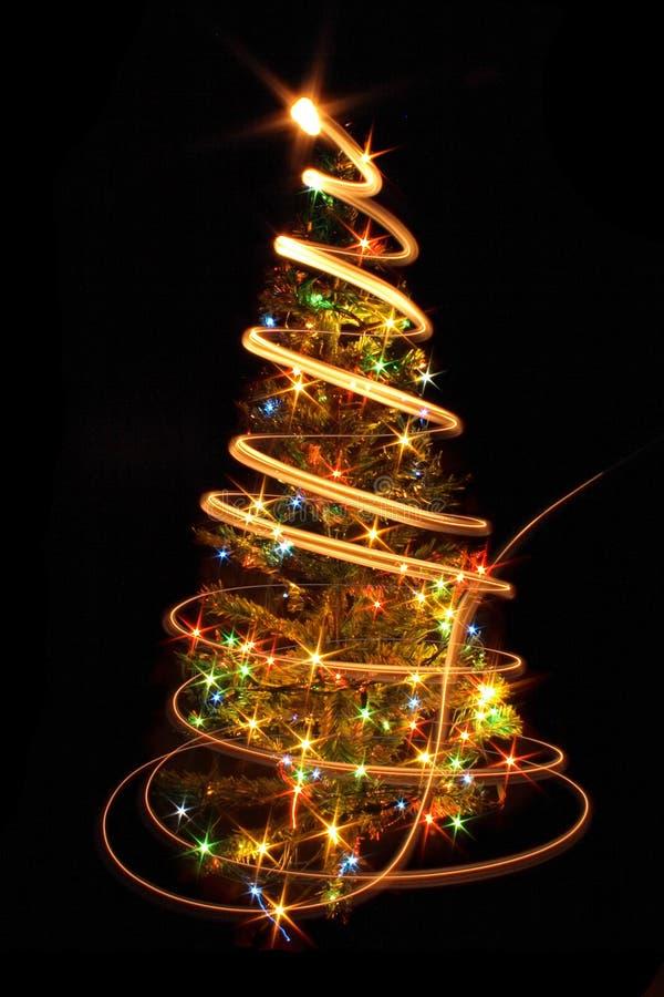 Xmas tree. (lights) on the black background stock photography