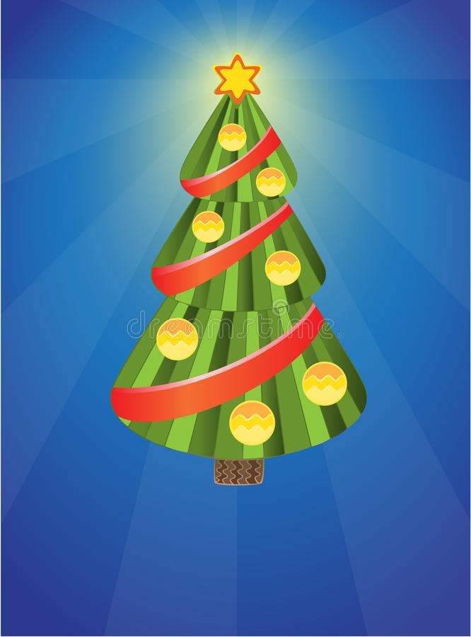 Xmas tree with balls royalty free illustration