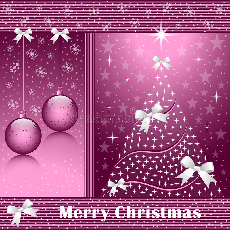 Xmas tree, balls and bows royalty free illustration