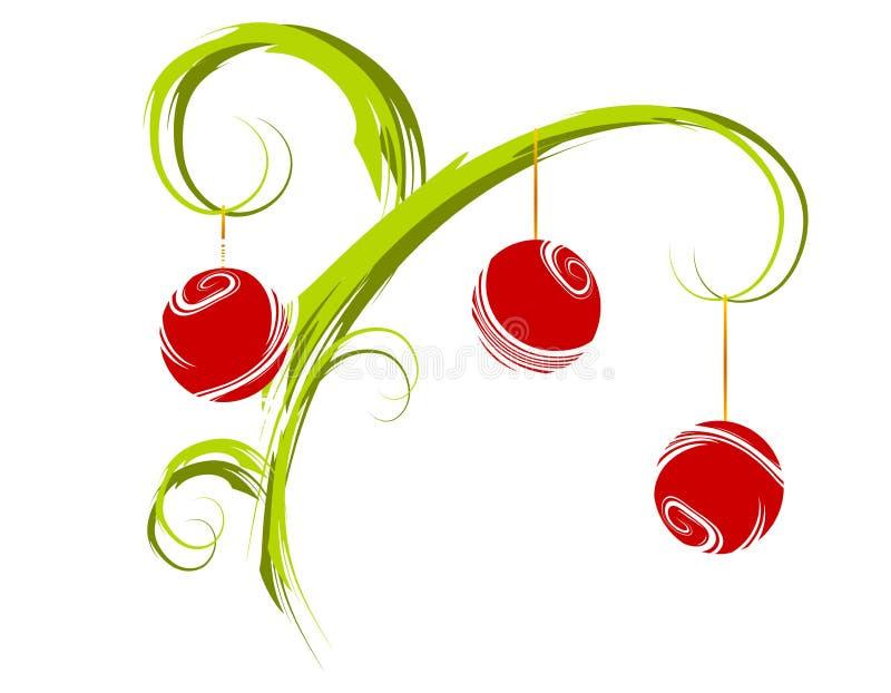 Xmas Tree Branch Ornaments royalty free illustration