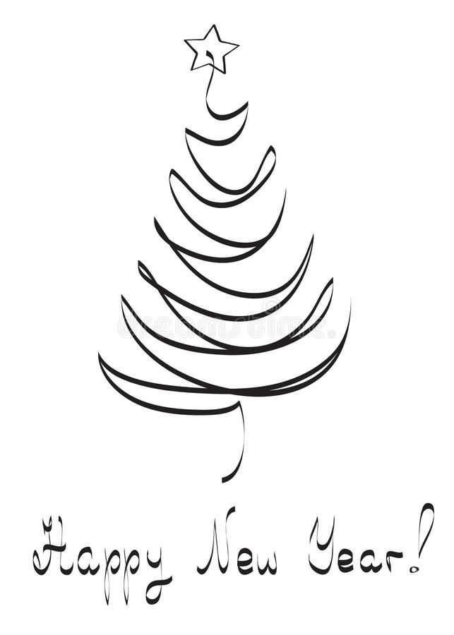 Xmas tree, card vector illustration