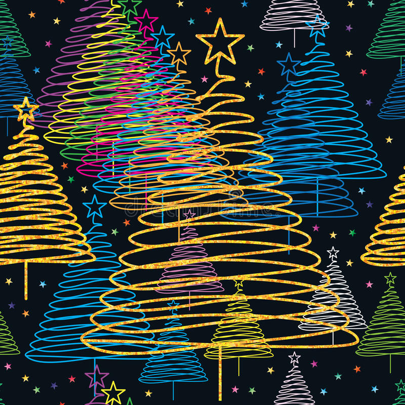 Xmas tree color golden glitter seamless pattern vector illustration