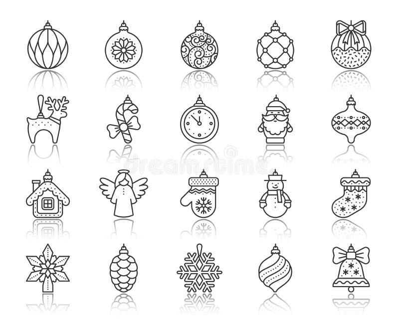 Xmas Tree Decor simple black line icons vector set vector illustration