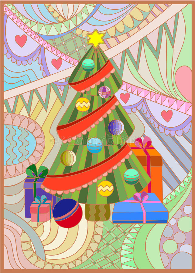 Xmas tree with gifts vector illustration