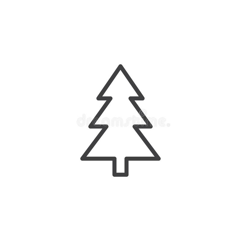 Xmas tree outline icon. Linear style sign for mobile concept and web design. Coniferous forest simple line vector icon. Symbol, logo illustration. Pixel vector illustration