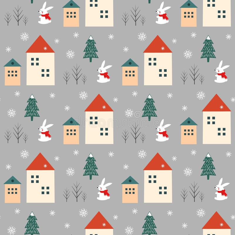 Xmas tree, snowflakes, rabbit and houses seamless pattern on grey background. stock image