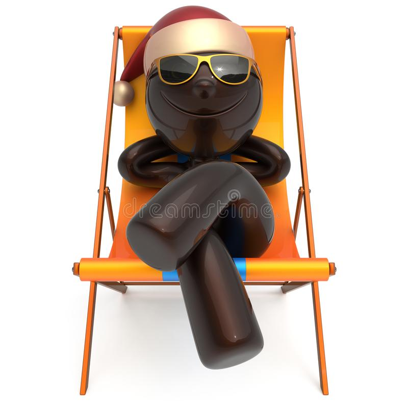 Xmas vacation man smiley character chilling beach deck chair. Happy New Year`s Eve Merry Christmas sunglasses Santa Claus hat person enjoy travel sun lounger royalty free illustration