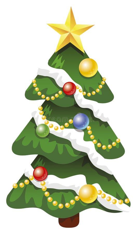 Xmas vector decorated tree royalty free stock photo