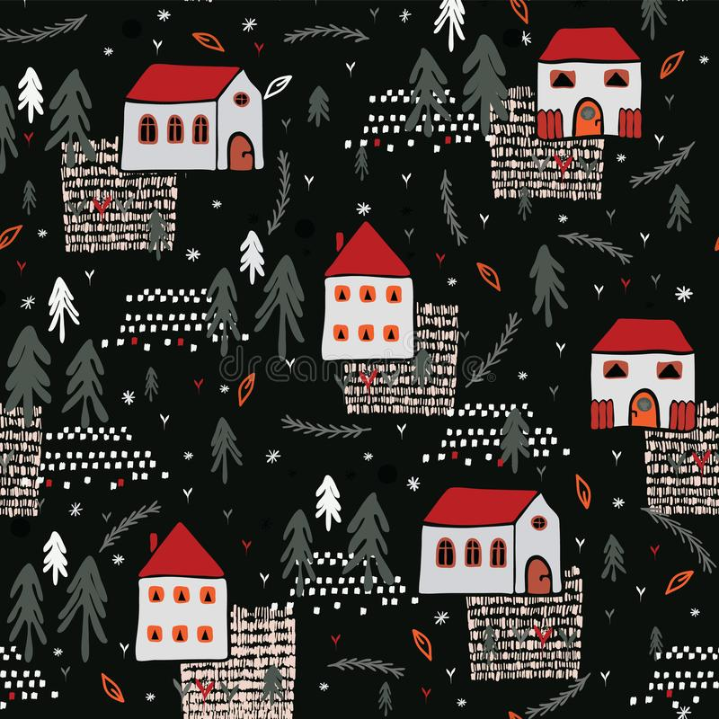Free Xmas Village Church House Pattern Black Red Color Stock Images - 123312804