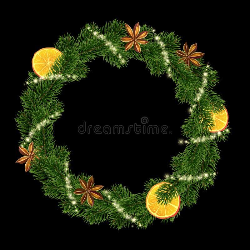 Xmas wianek Girlanda pikantność, pomarańcze i jodła, ilustracji