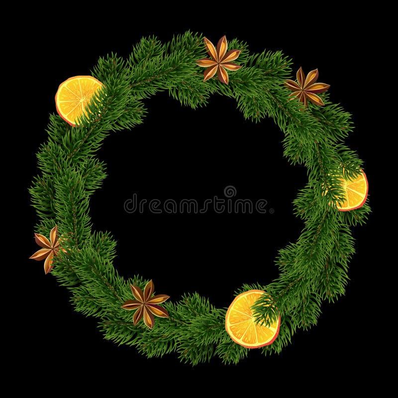 Xmas wianek Girlanda pikantność, pomarańcze i jodła, royalty ilustracja