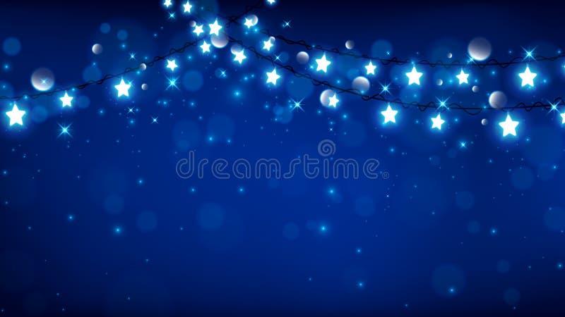 Fairy lights Christmas on blue background royalty free illustration