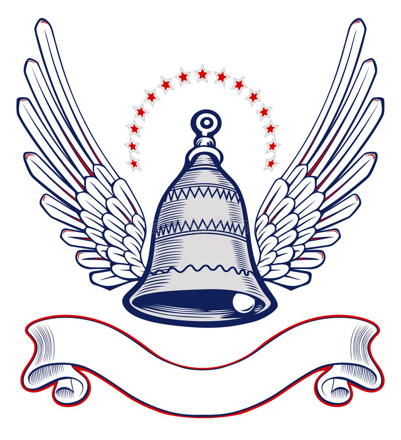 Xmass Bell Wing Emblem Stock Photography