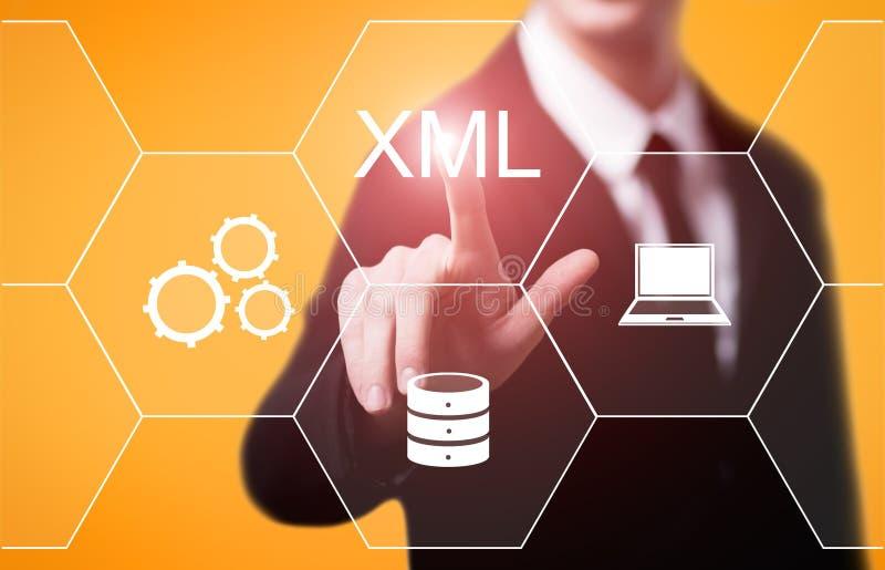 XML代码编程的网发展互联网技术概念 库存图片
