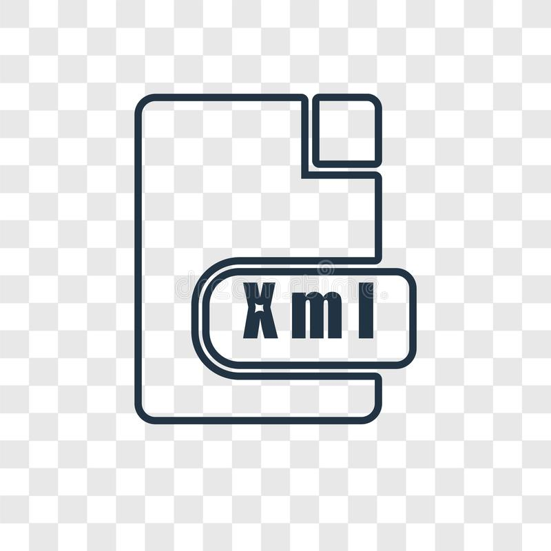 Xml concept vector linear icon isolated on transparent background, Xml concept transparency logo in outline style. Xml concept vector linear icon isolated on stock illustration