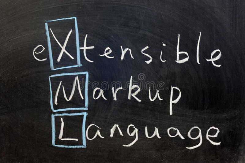 XML, extensible markup language. Chalk writing - XML, extensible markup language royalty free stock images