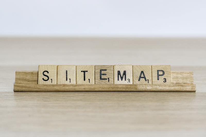 Xml sitemap - web design terminology using scrabble letters. A concept of web design. technology and coding terminology using scrabble letters stock image