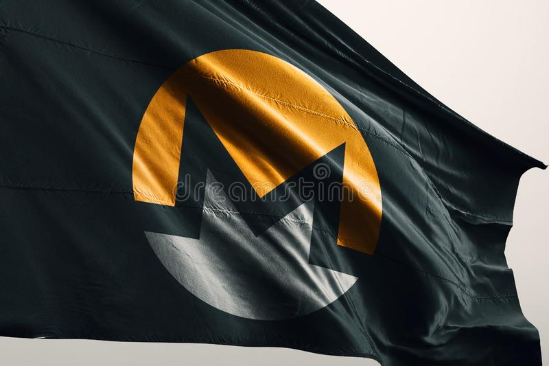 XMR Monero photorealistic flag in wind. Monero is an open-source cryptocurrency created in April 2014 that focuses on fungibility, privacy and decentralization stock photos