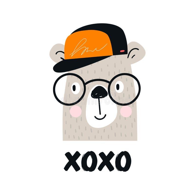 Xo Xo - affiche tirée par la main mignonne de crèche avec le caractère animal d'ours de bande dessinée avec les verres, la casque illustration de vecteur