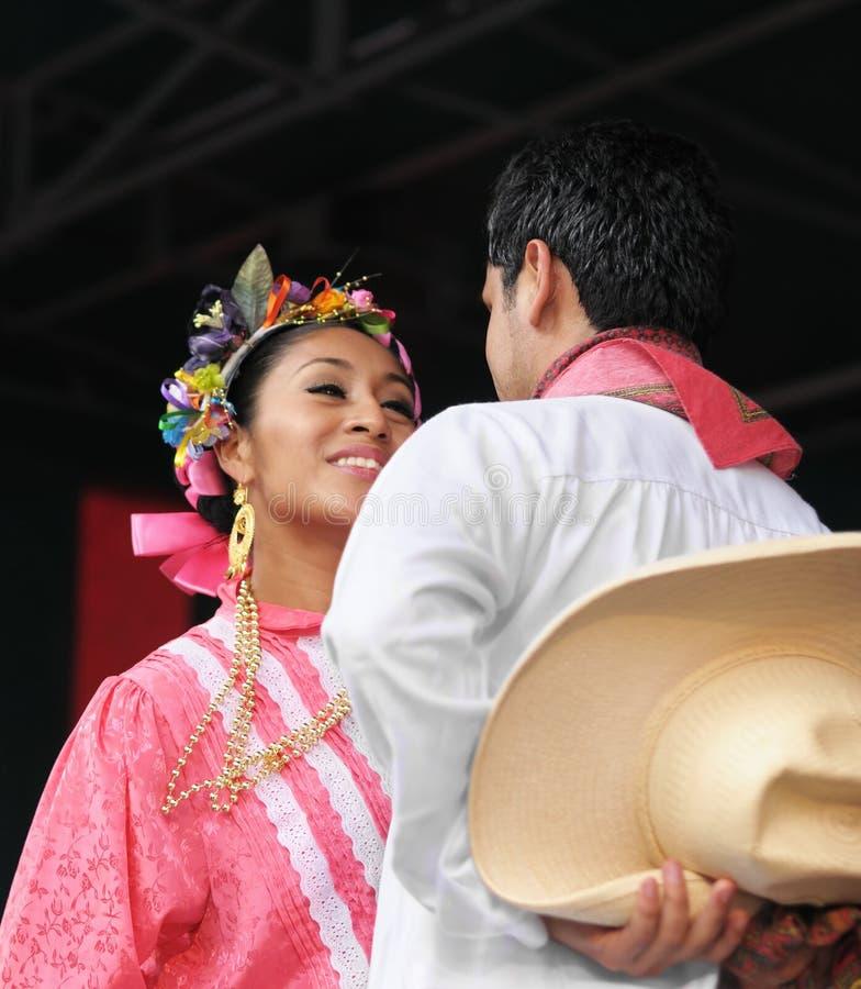 Xochicalli墨西哥民俗的小组 库存照片